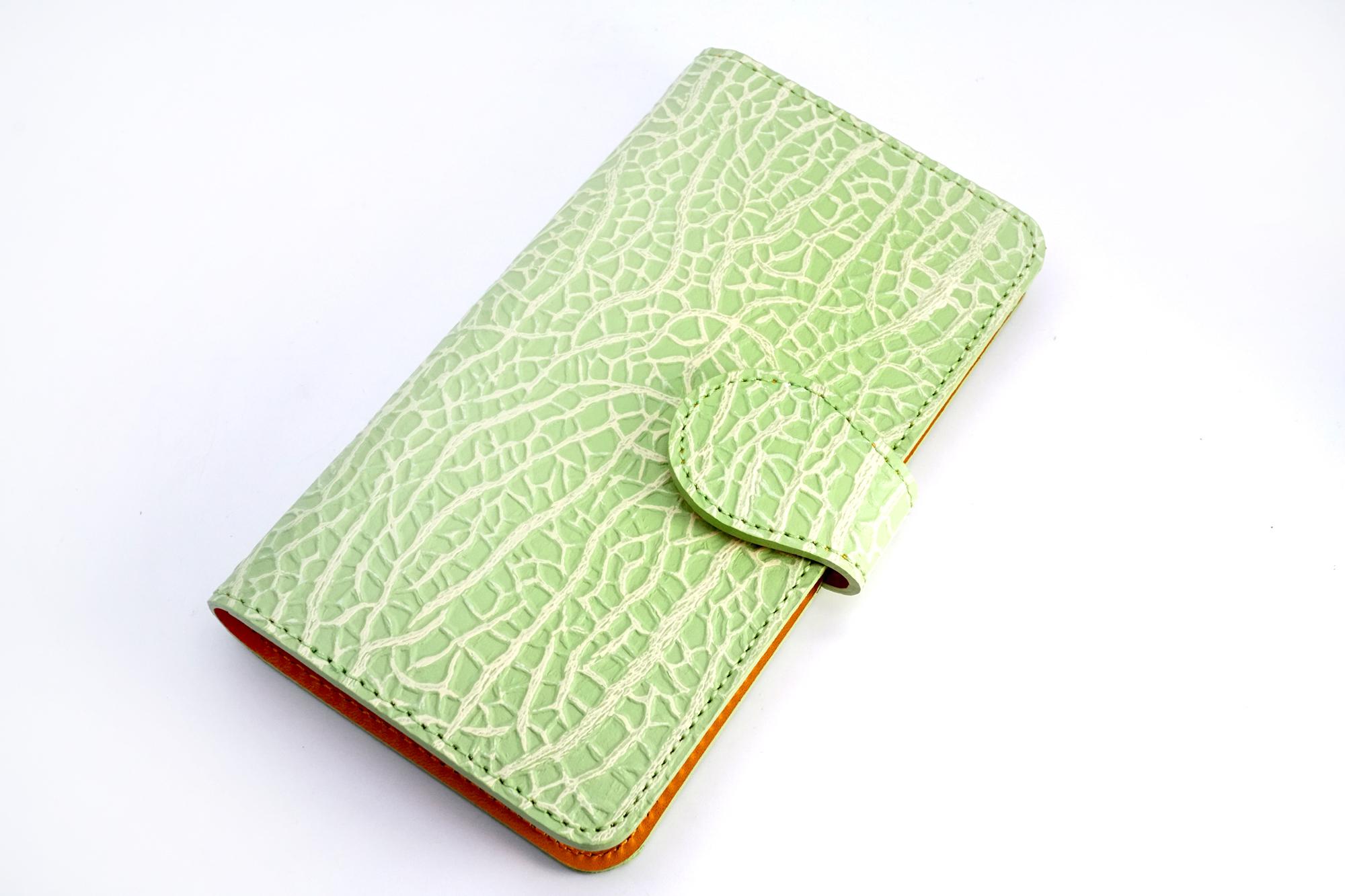 【牛革製】赤肉メロンなスマホケース(Lサイズ)iPhone Plusほか多機種対応