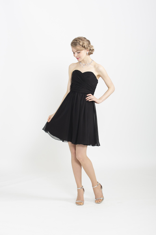 【販売】ブラックシフォンミニドレス