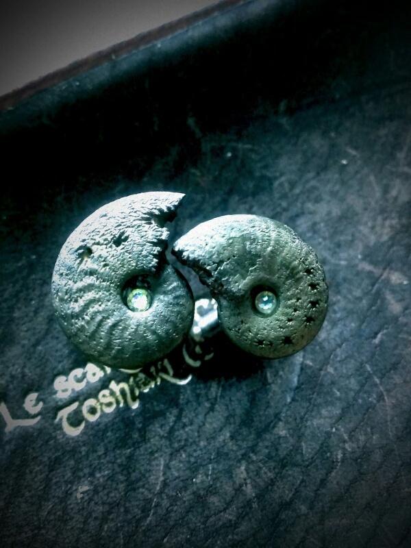 アンモナイト 化石 カフスボタン M2