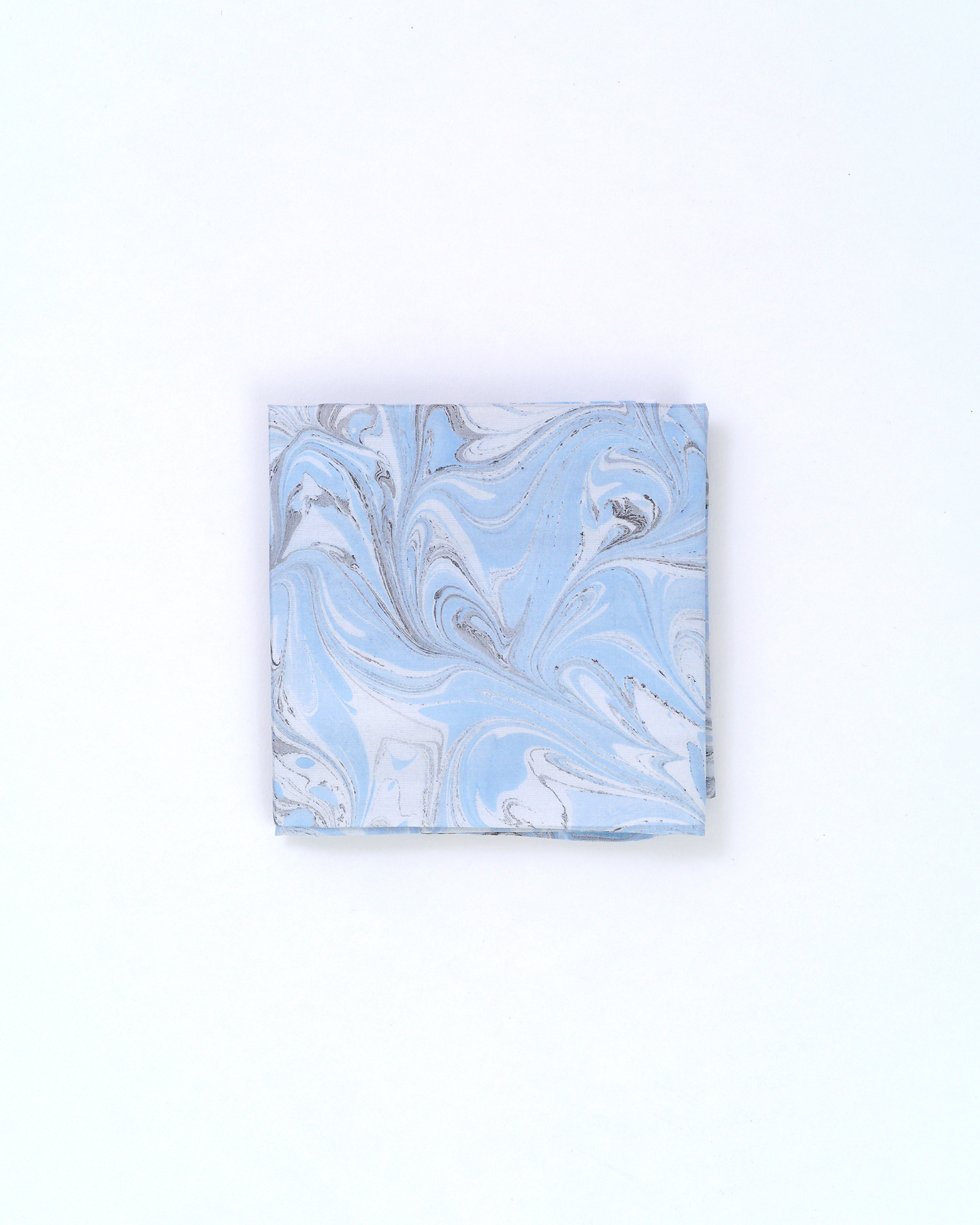 墨流しハンカチ/マーブル/空色×墨色