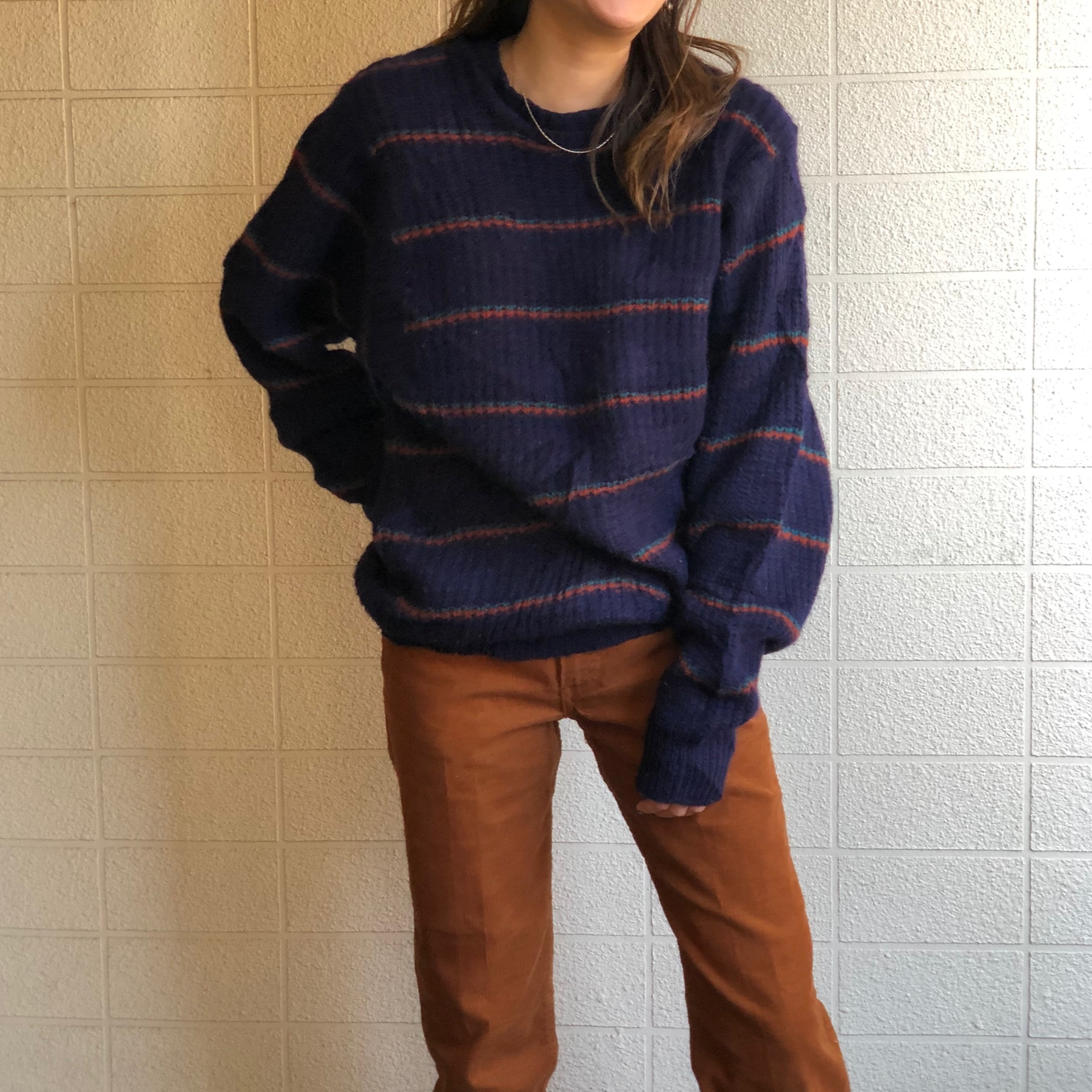 Pure wool border knit
