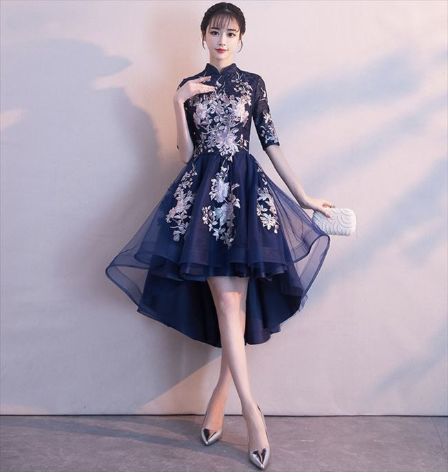 08bf70a74bd01  即納 パーティードレス ワンピース ドレス ワンピ ブルー 青 ミディ丈 刺繍 花柄 ハイネック