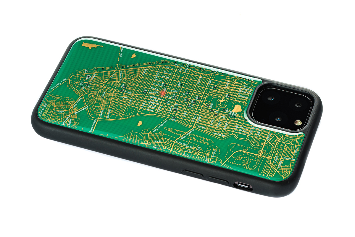 FLASH NY回路地図 iPhone 11 Pro ケース  緑【東京回路線図A5クリアファイルをプレゼント】