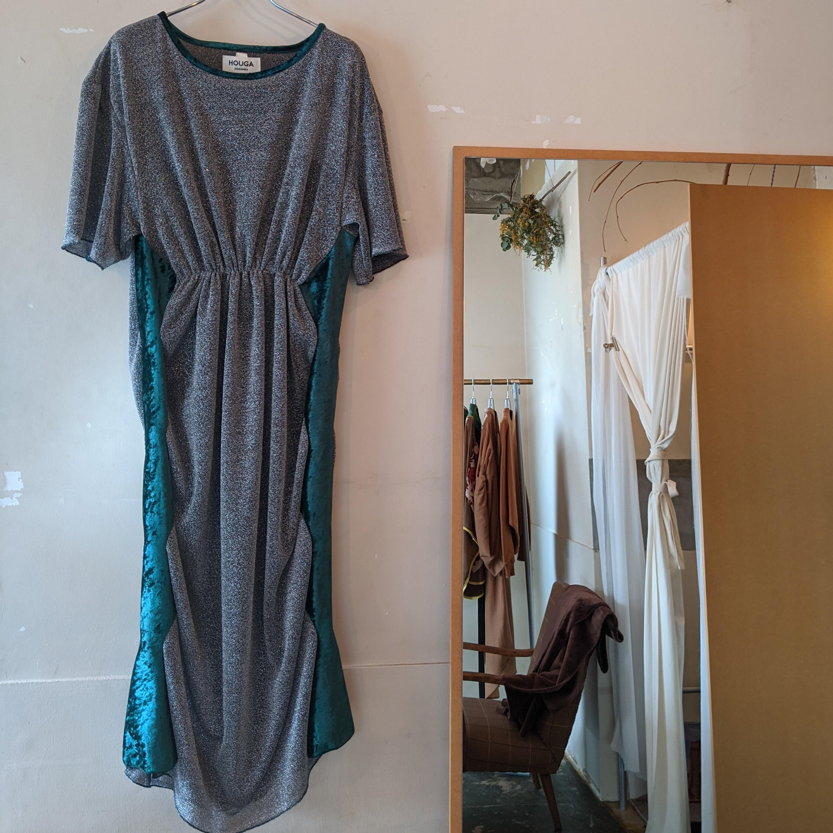 【 HOUGA 】ホウガ twinkle Tdress /dark silver ラメ×ベルベット