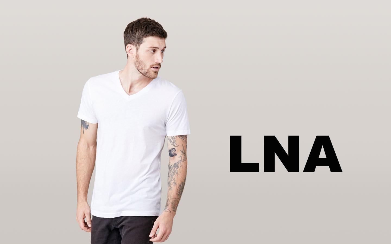 LNA/エルエヌエー ショートスリーブVネックシャツ/ホワイト