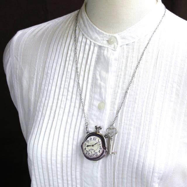 【即納】時計がま口ミニ 鍵のネックレス アラビア数字銀時計 - 金星灯百貨店