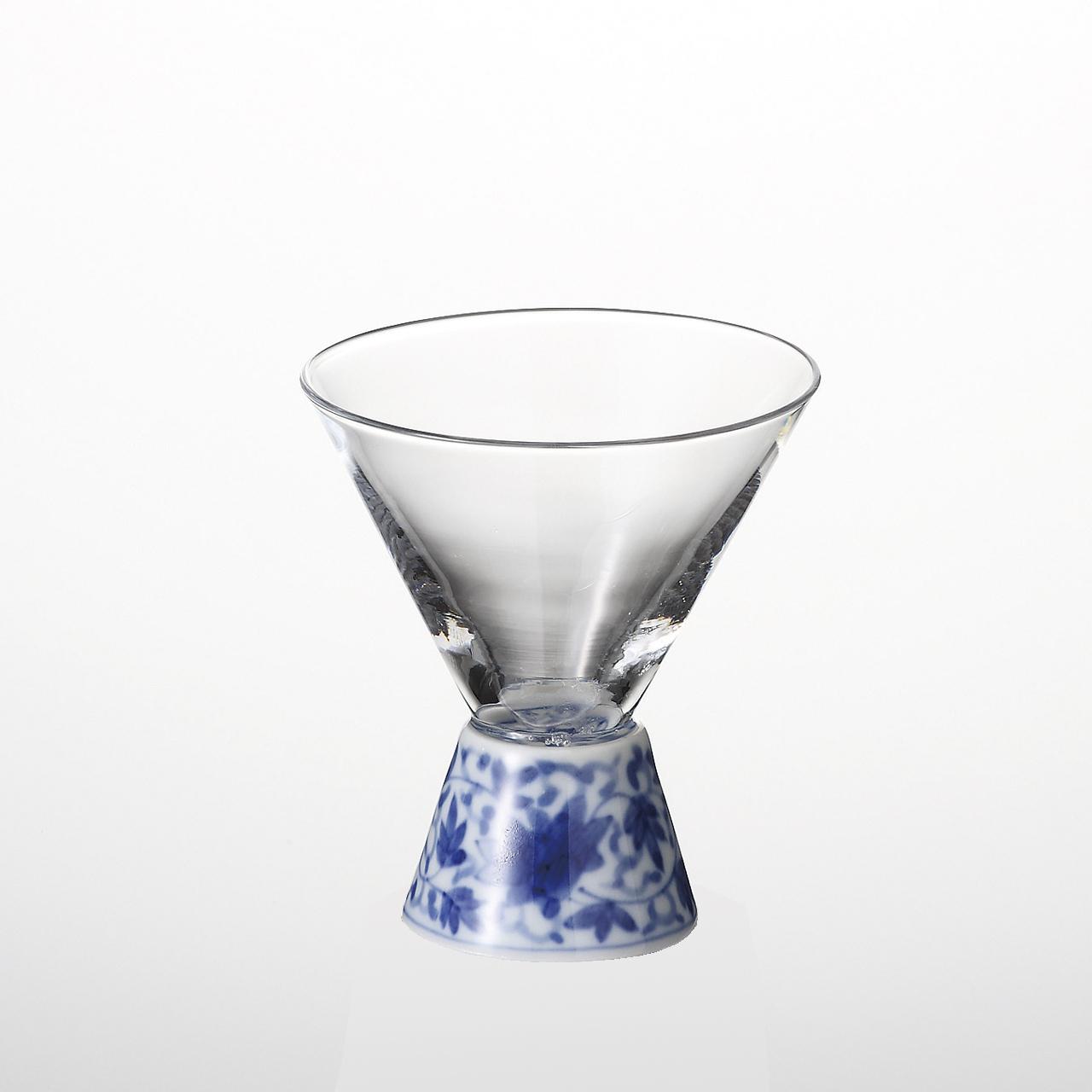 酒グラス(台形) 染付華唐草 20-002-B