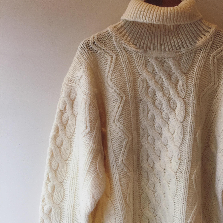 vintage aran knit sweater