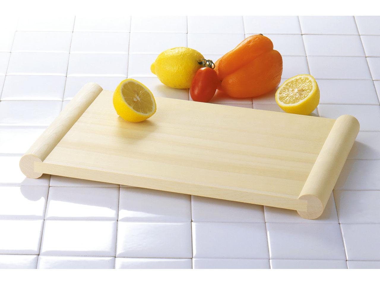 木製まな板 「ヒノキ 清潔・浮かせまな板 長さ48×幅26×H3(板厚1.4)cm」