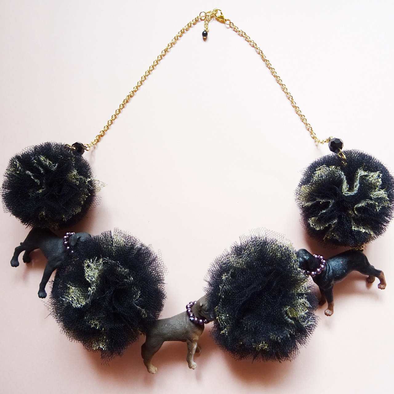 Sedmikrasky セドミックラスキー ポンポンチュール犬ネックレス / ブラック