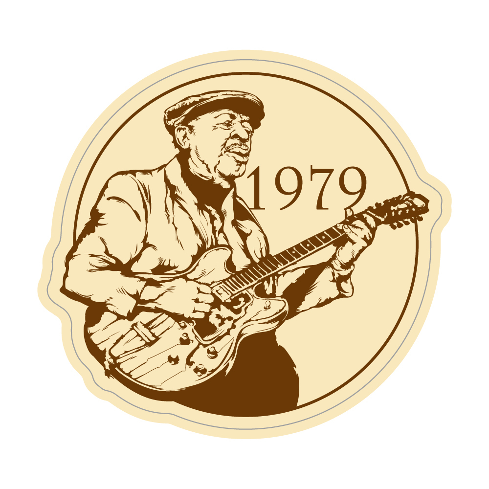 "286 Guitarist 1979  ""California Market Center"" アメリカンステッカー スーツケース シール"