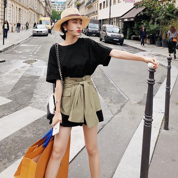 トレンチスカート Tシャツワンピ 2点セット 2カラー onp224