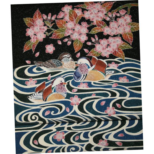 「山桜・流水に鴛鴦」