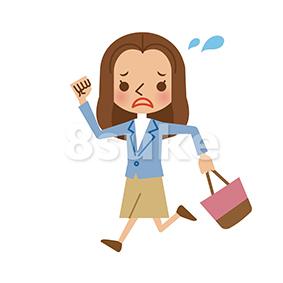 イラスト素材:タイトル慌てた様子で走る若い女性(ベクター・JPG)