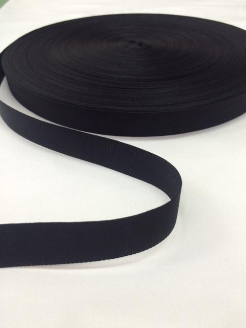 ナイロン 平織(グログラン)18mm幅 黒 1m