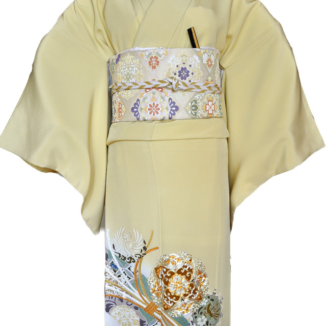レンタル色留袖■高級加工■鮮やかな黄色地に金彩刺繍で熨斗目 花輪005【往復送料無料】 - 画像1