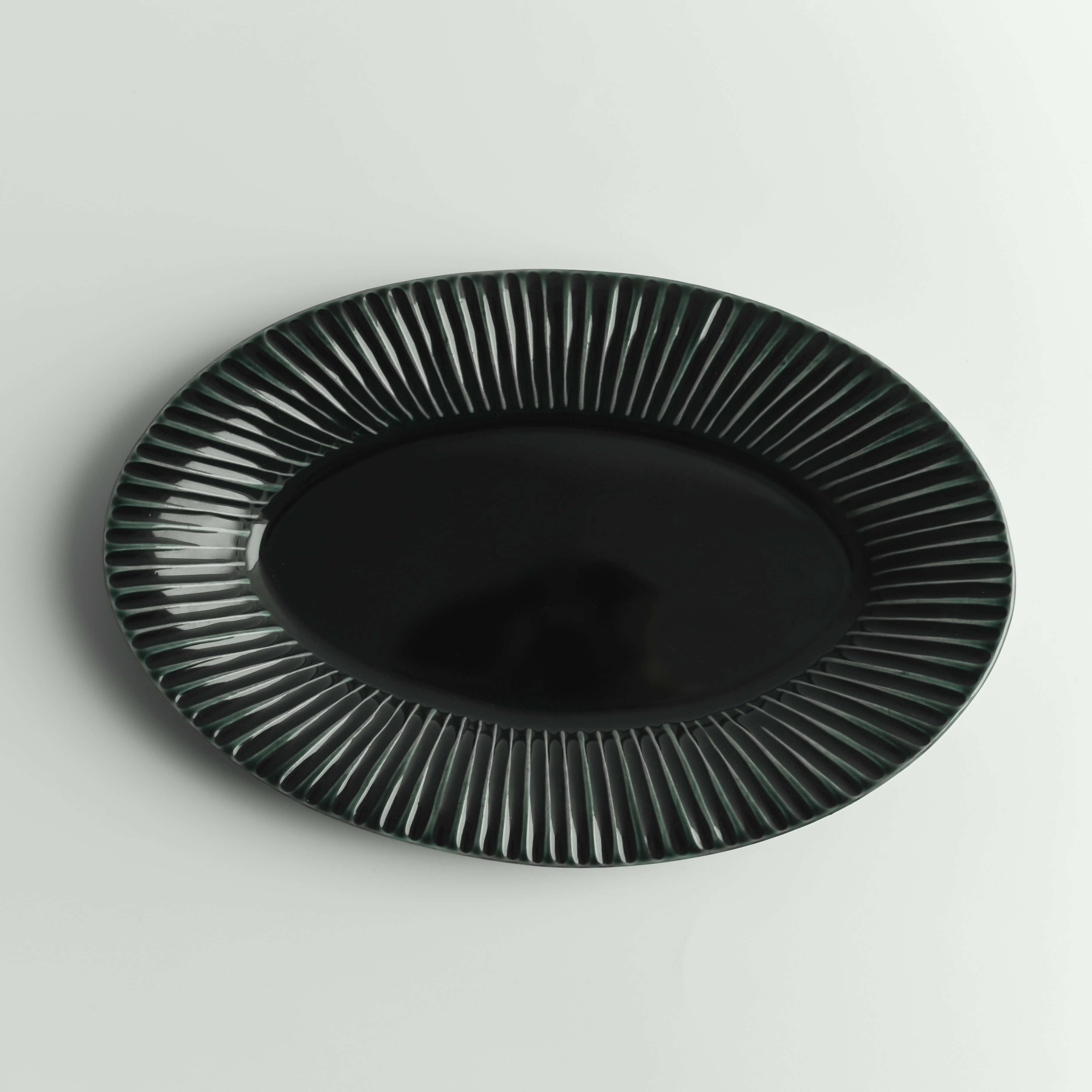 【小倉夏樹】鎬オーバル皿(L) 瑠璃釉