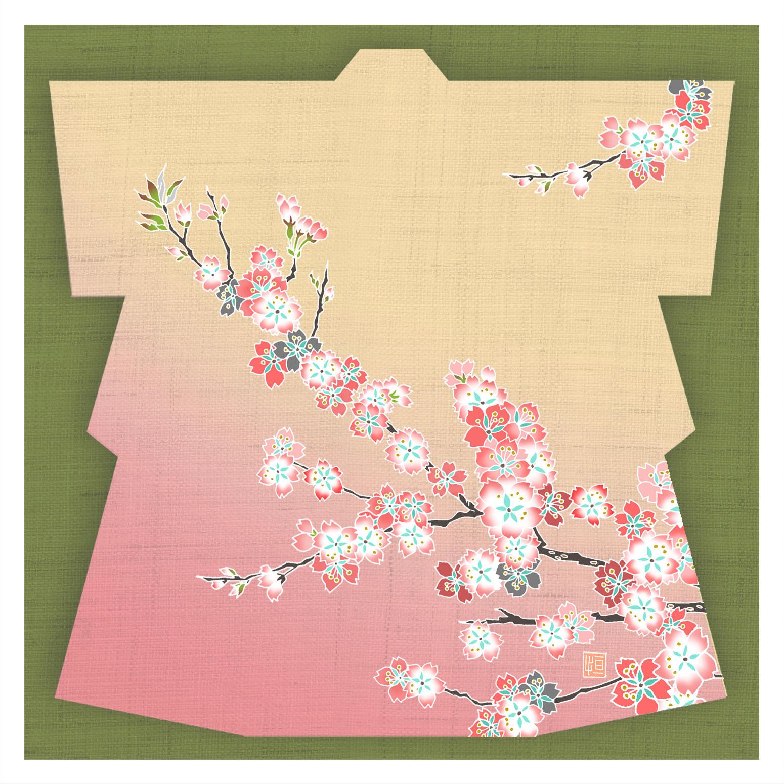 ガラス皿「そめゆら」Y-01 着物 桜01