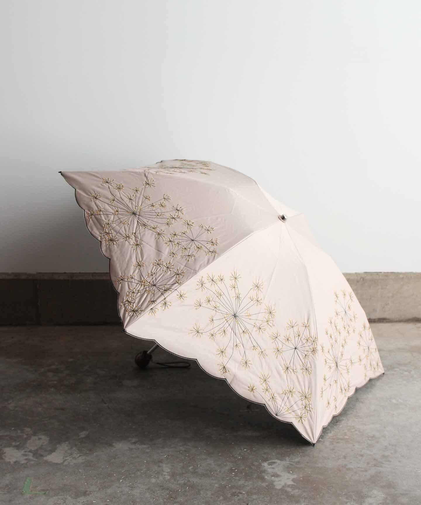 【フェンネル花刺繍】雨天兼用日傘 (折りたたみ)ベージュ