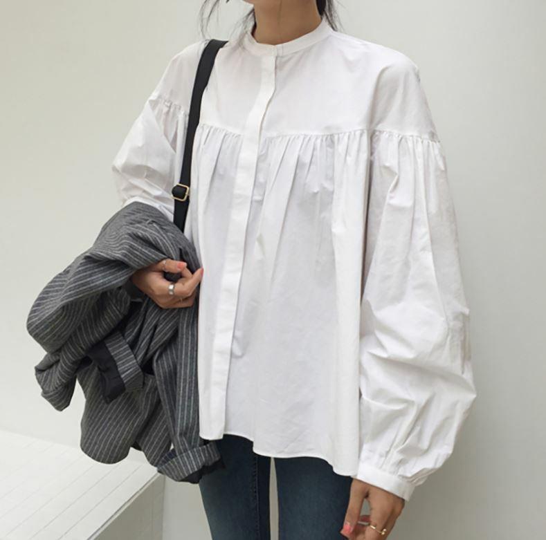 【洗練された白ブラウス】1枚でも重ね着でも◎シンプルデザインで魅せる大人の白ブラウス