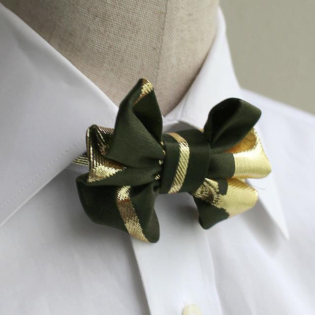 西陣織 蝶ネクタイ 深緑×ゴールド   (男女兼用)