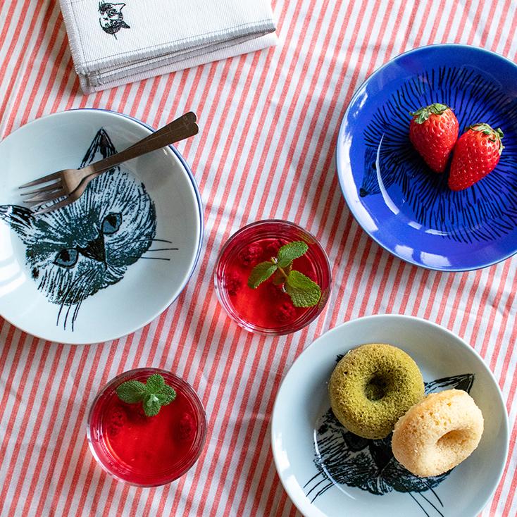 猫の食器17cmプレート(皿)/松尾ミユキさんイラスト
