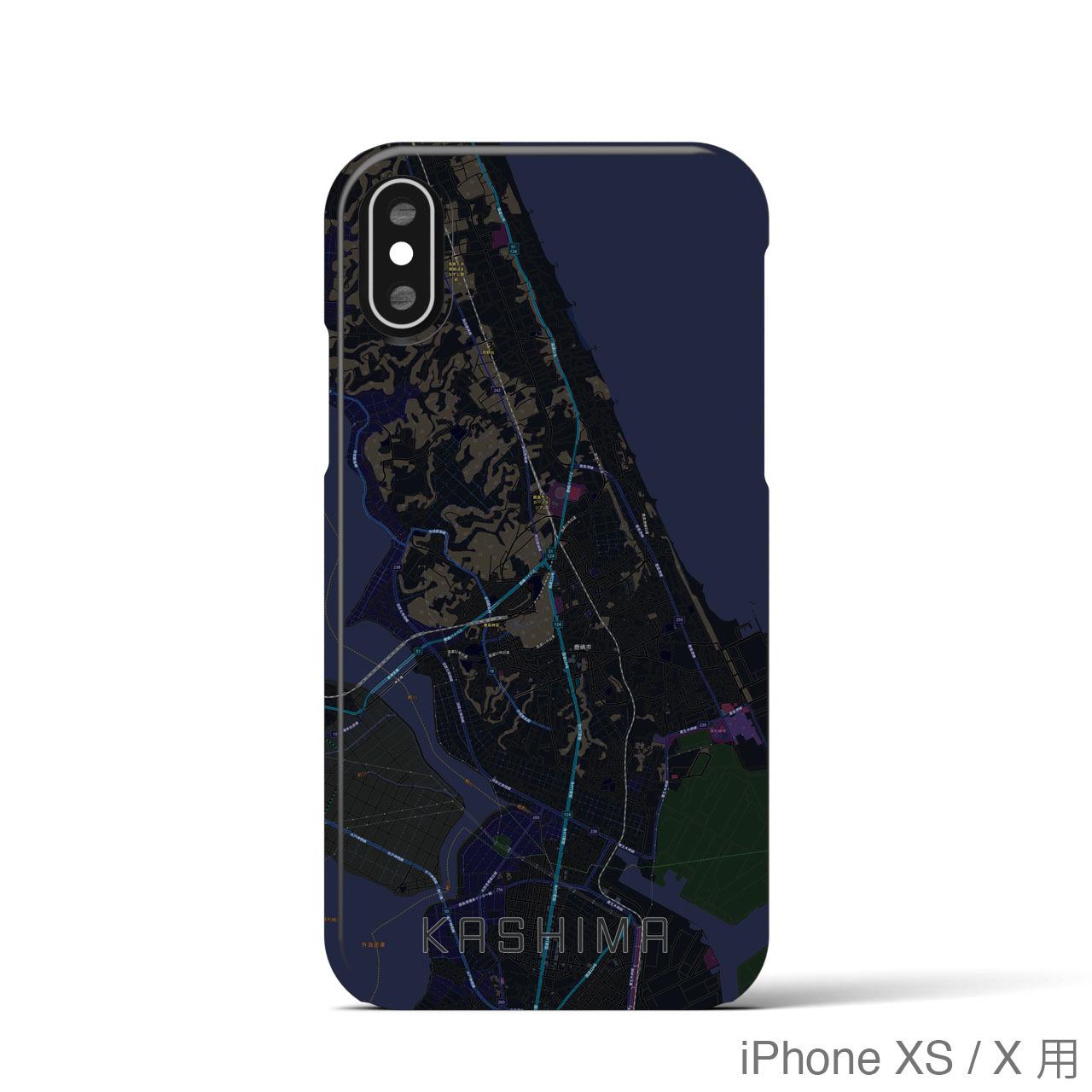 【鹿島】地図柄iPhoneケース(バックカバータイプ・ブラック)
