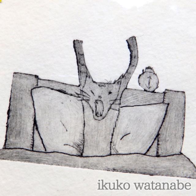 版画カード - 猫 おきる - わたなべいくこ - no9-wat-03
