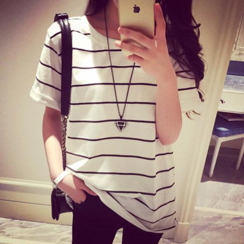 ヨーロッパ・アメリカの古典的なスタイル 女性tシャツストライプカラー