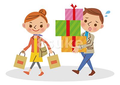 イラスト素材:ショッピングをする若いカップル(ベクター・JPG)