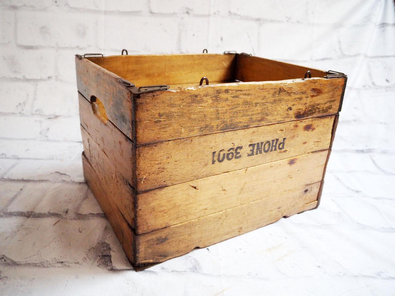 品番1384 折り畳み 木箱 ボックス 収納ケース アメリカン ヴィンテージ