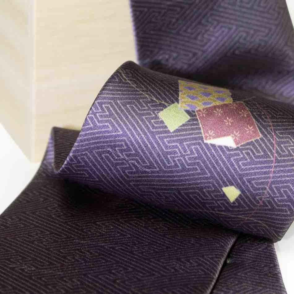 和柄ネクタイ「折り鶴・紫」