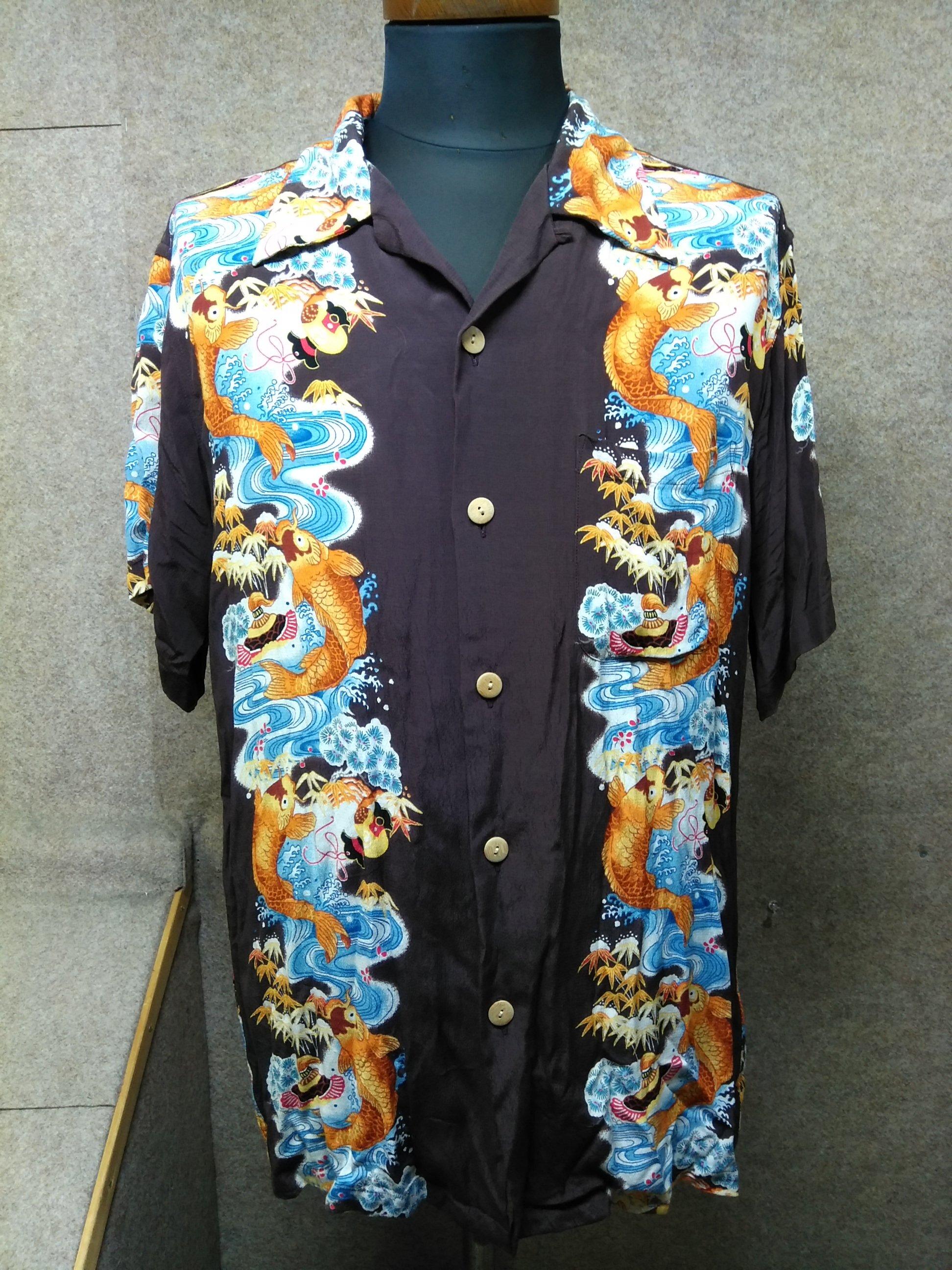 ハワイアン Hawaiian アロハシャツ 和柄 鯉 L u1071c