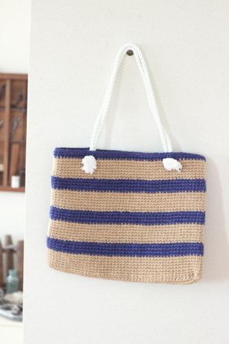 手編みのバッグ*麻 ボーダー/sakura 型番:B-12