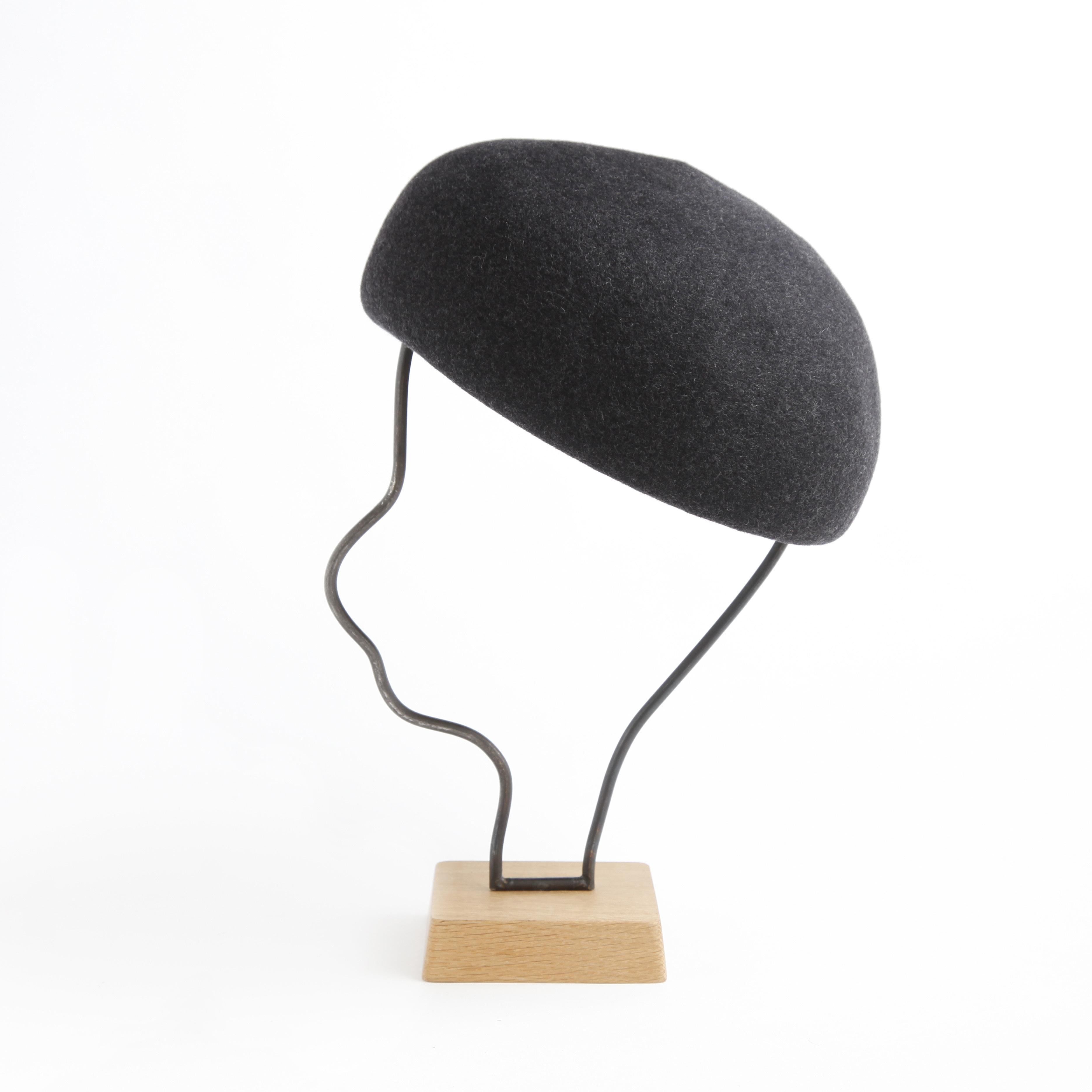 mature ha./Japanese old wooden block beret/charcoal melange