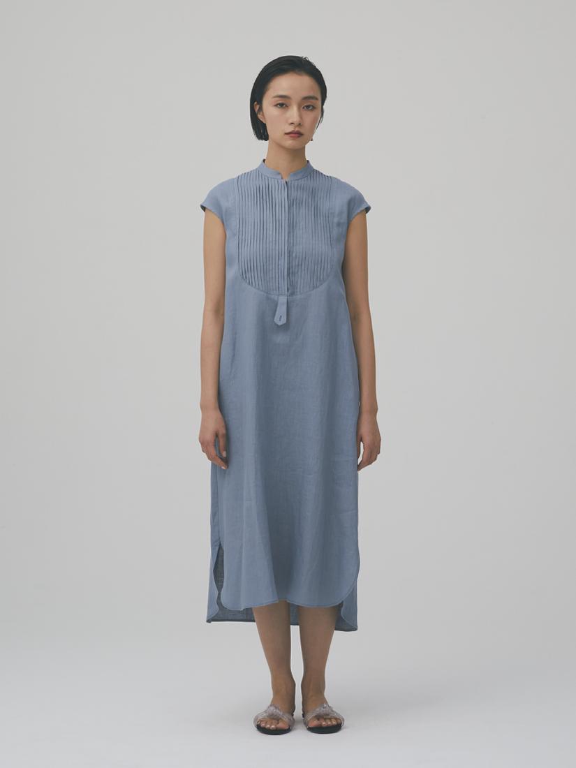 linen pin-tucked shirt dress