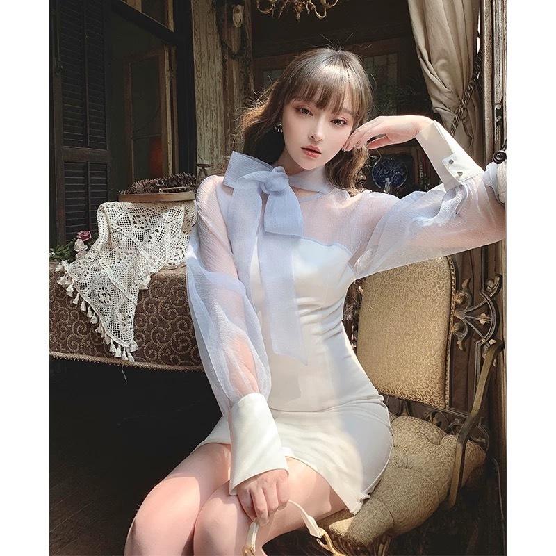 pastel blue see-through dress