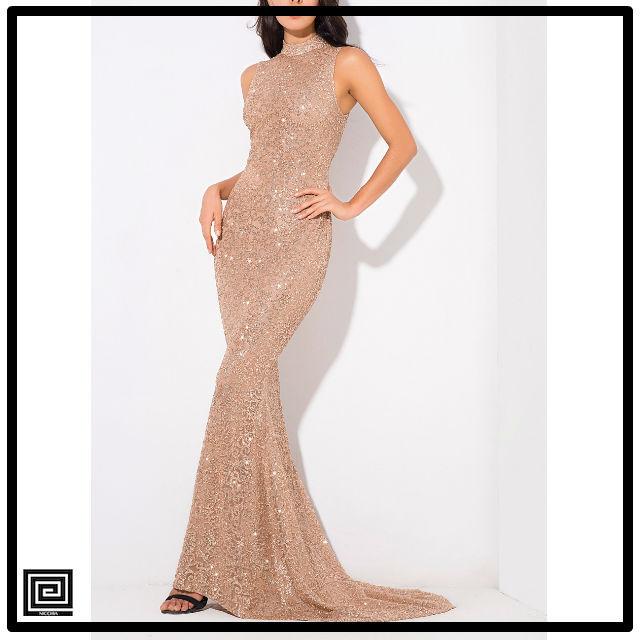 ビーズボディコンイブニングドレス