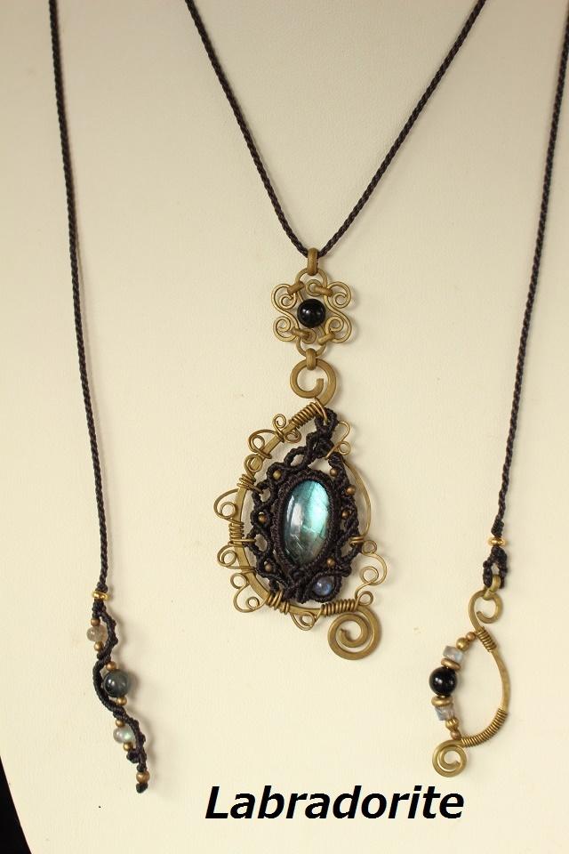 Labradorite brass wire pendant