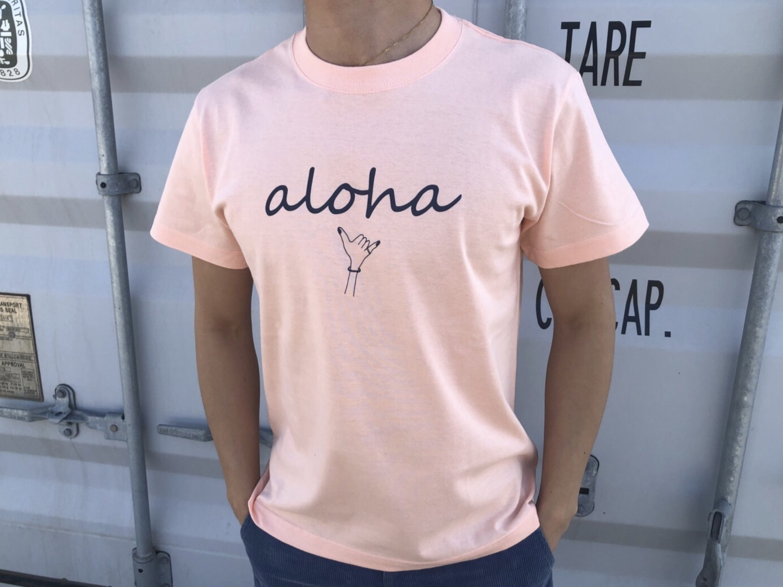 【Fine7月号掲載】 alohaサイン Tシャツ(peach)