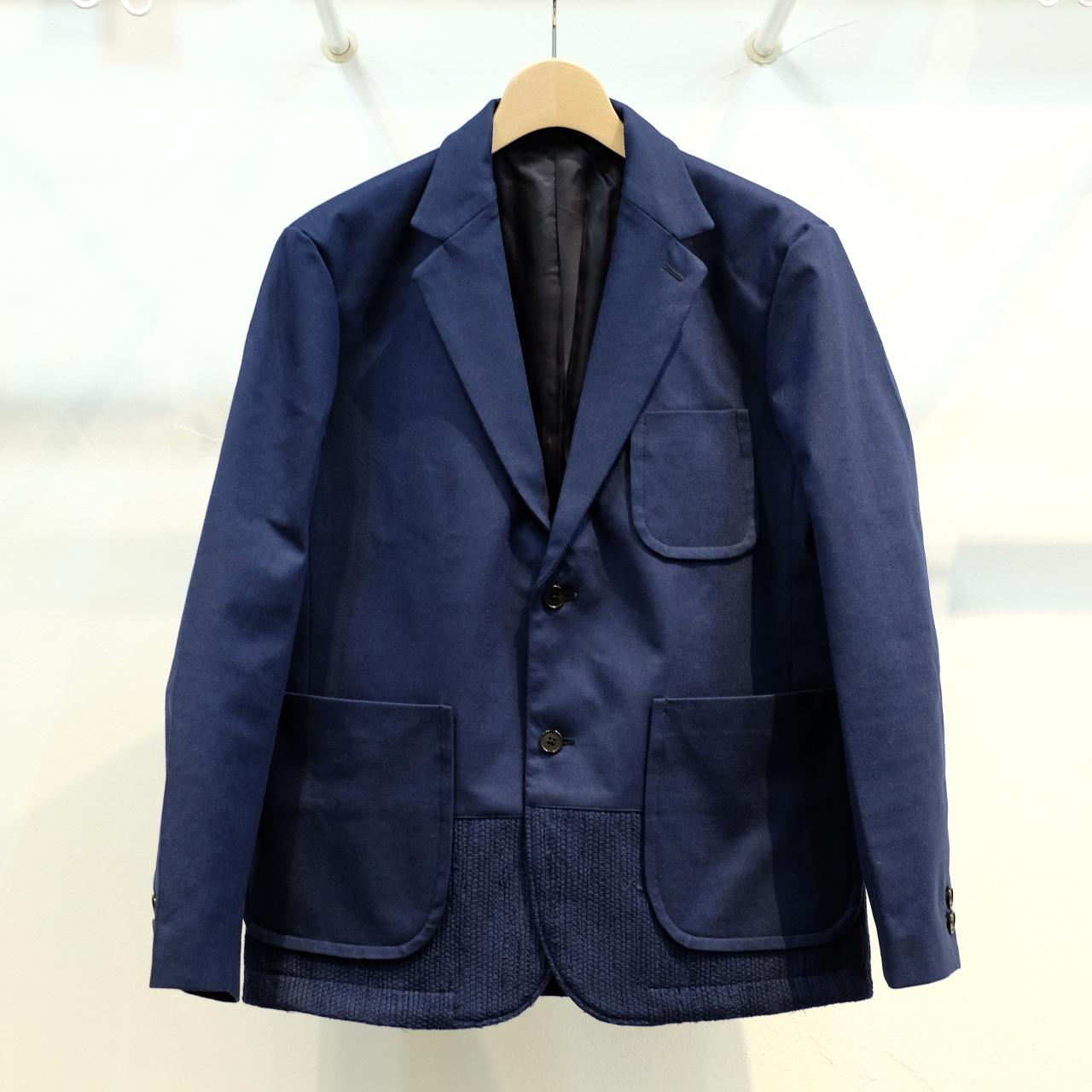 KUON(クオン) 裂織り切り替え ウールボンディングジャケット ネイビー