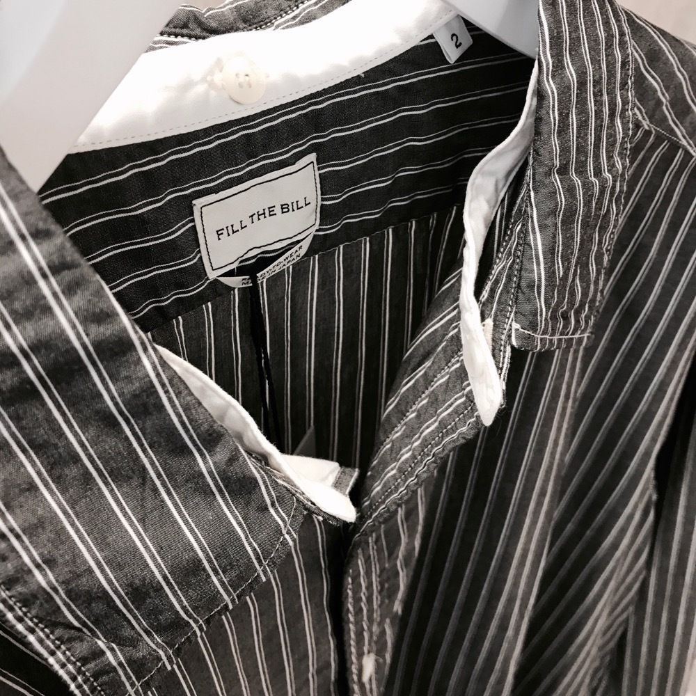 FILL THE BILL DETACHABLE COLLAR SHIRT BLACK STRIPE