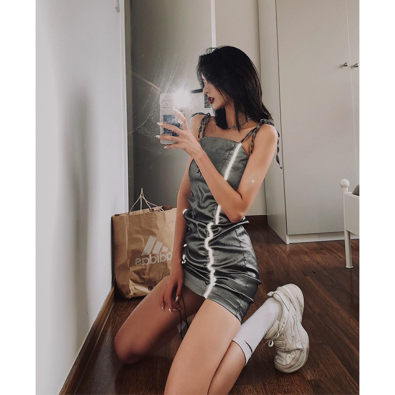 reflector line gray dress