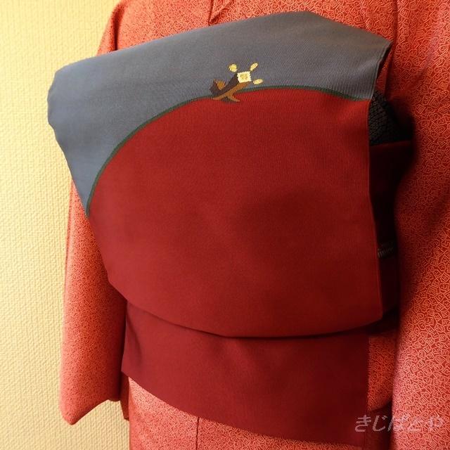 正絹 深い赤とブルーグレーの綴れ織りのなごや