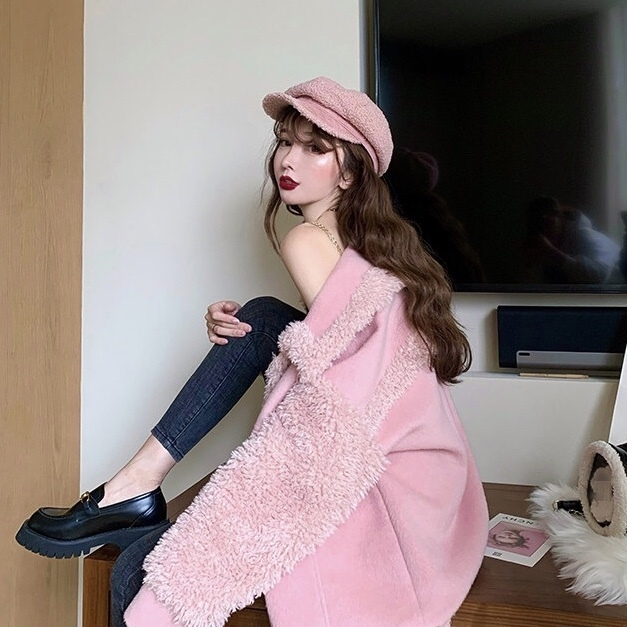 pink bore over jacket