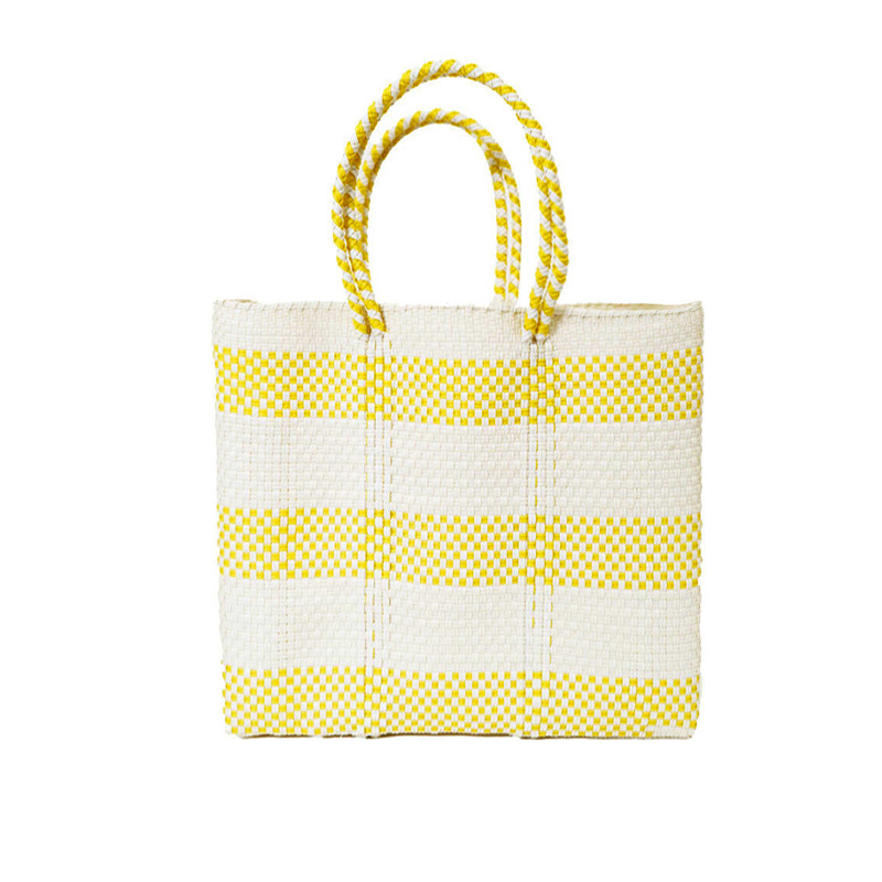 MERCADO BAG BORDER2-White x Yellow (S)