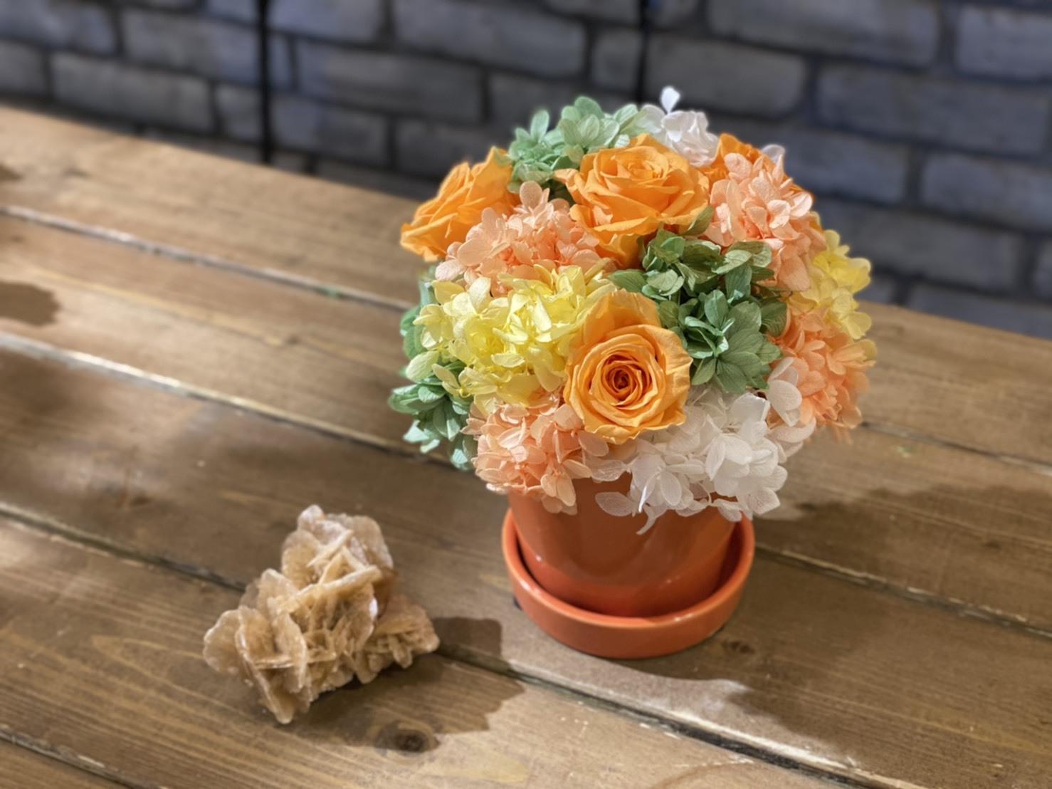 【母の日ギフト】プリザーブドフラワーアレンジメント オレンジイエロー