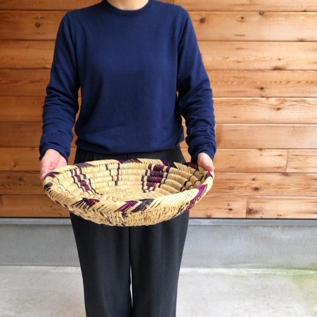 モロッコ 編み込み皿 バスケット φ約39cm