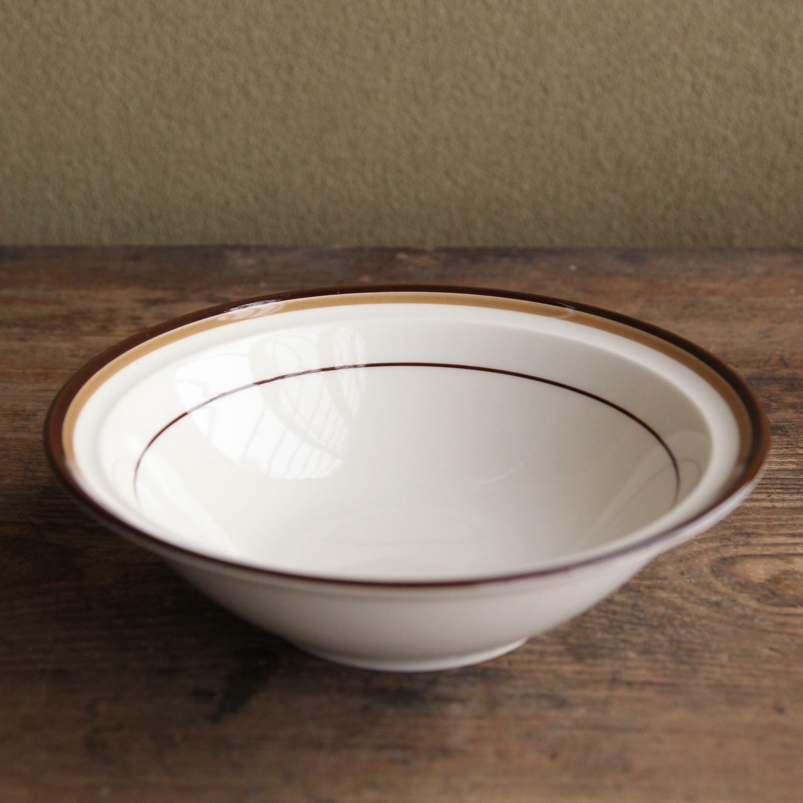 maruta 茶と黄土色ラインのボウル皿 在庫3枚