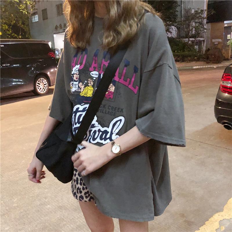【送料無料】アメカジデザイン♡ メンズライク POPなプリント柄 ビッグシルエット Tシャツ